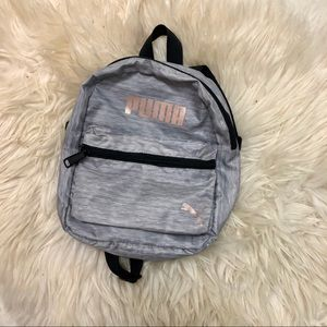 Toddler grey puma backpack w rose gold